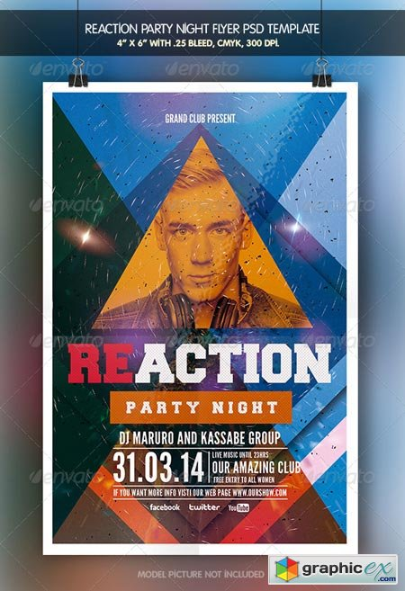 Reaction Party Flyer Template 6927022
