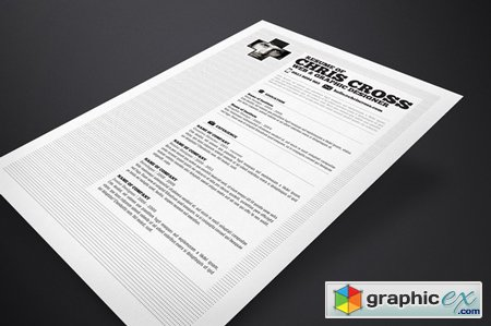 Creativemarket Chris Cross Resume Template 7233