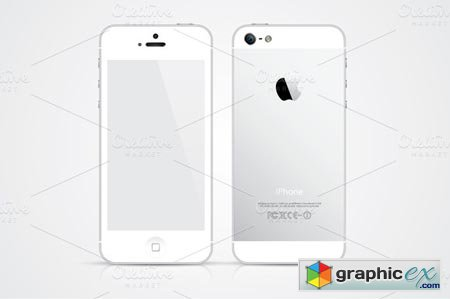 Creativemarket White iPhone 5 vector illustration 4142