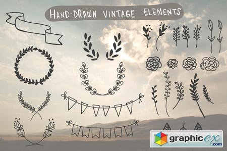 Creativemarket Hand-Drawn Vintage Elements 25462