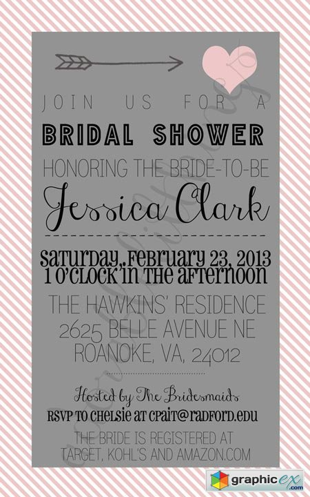 Creativemarket Cupid Bridal Shower Invitation 4790