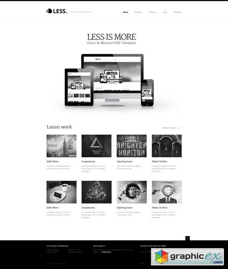 Creativemarket LESS Portfolio Agency PSD Template 2204