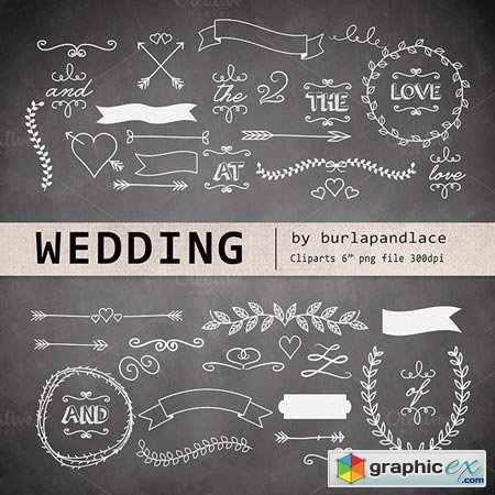 Creativemarket Chalkboard wedding cliparts 24677