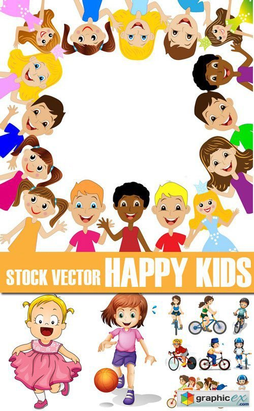 Stock Vectors - Happy Kids, children, 25xEps