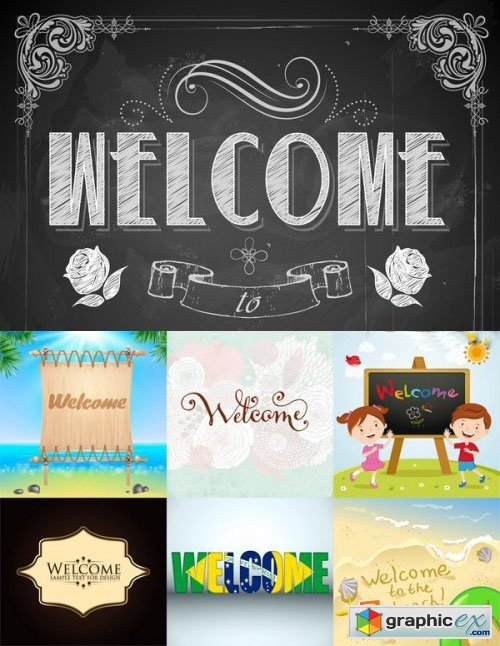 Stock Vectors - Welcome Lettering Design, 25xEps