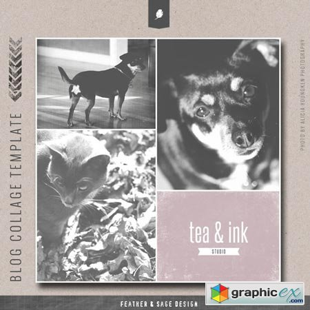 Creativemarket Tea & Ink Photo Collage Template 8766