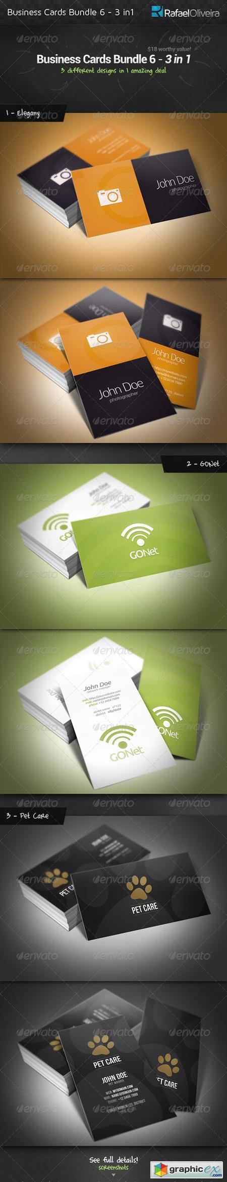 Business Cards Bundle 6 - 3 in 1 3556626