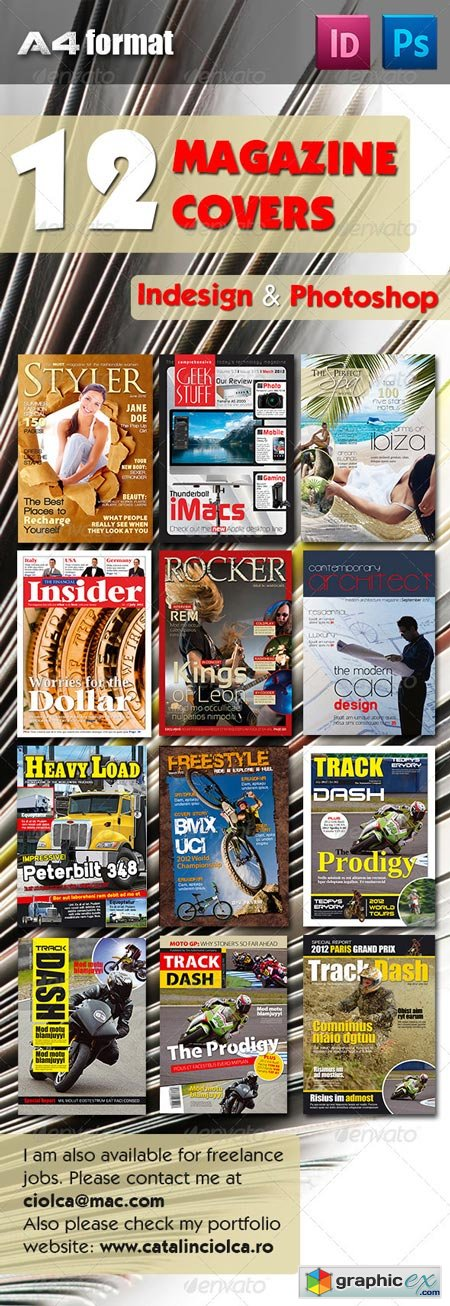 12 Magazine Covers Bundle Template