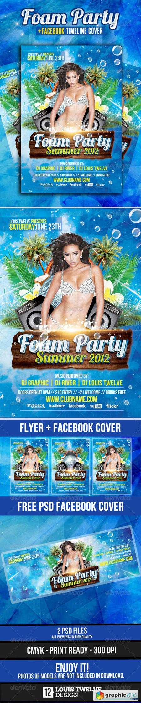 Foam Party Summer Flyer with Facebook Cover