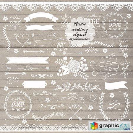 Creativemarket Rustic Wedding Clipart II 26178