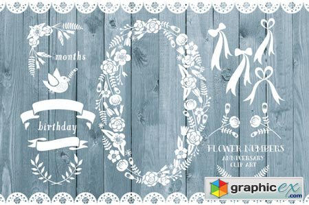 Creativemarket Floral number zero, rustic wood 35918