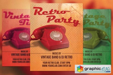 Retro Party Flyer Template 20064