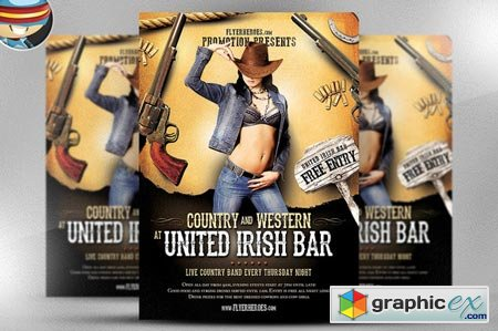 Creativemarket Country and Western Flyer Template 21245