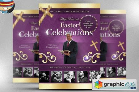 Creativemarket Easter Celebrations Flyer Template 17636