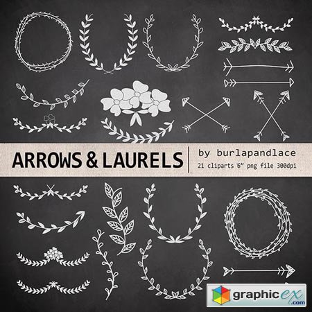 Hand Drawn clipart laurels and arrow 26067