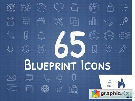 65 Blueprint Sketched Icon Set 6596