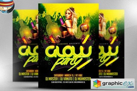 Glow Neon Party Flyer Template 22743