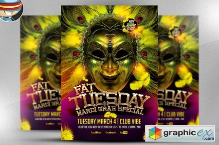 Fat Tuesday Mardi Gras PSD Flyer 21883