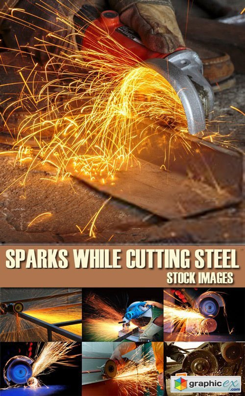 Stock Photos - Sparks While Cutting Steel, 25xJPG