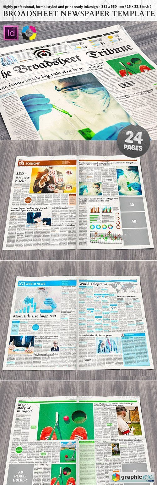 Broadsheet Newspaper Template - 24 pages