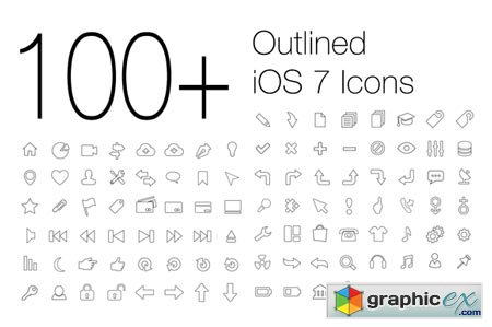 100+ Outlined iOS 7 Icons 16875