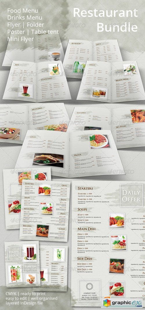 Restaurant Menu and Promotional Set Bundle