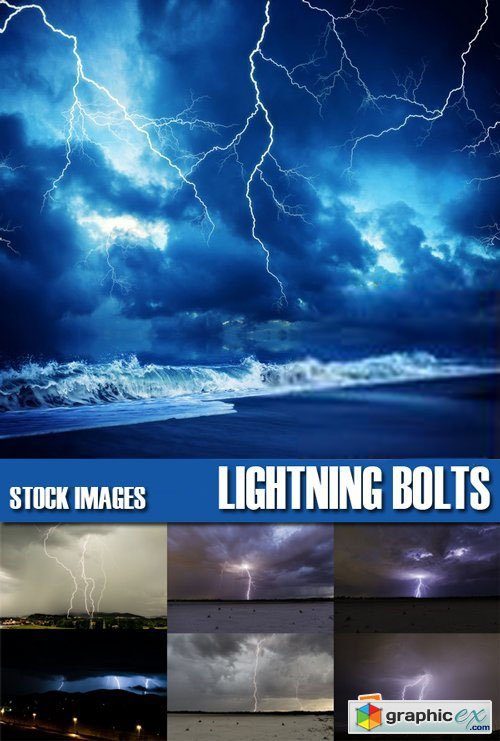 Stock Photos - Lightning Bolts, storm, gale, 25xJPG