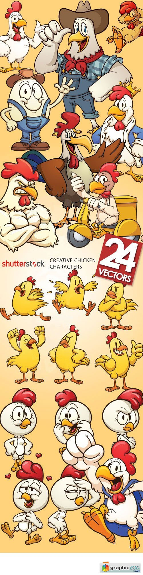 Chicken Characters 24xEPS