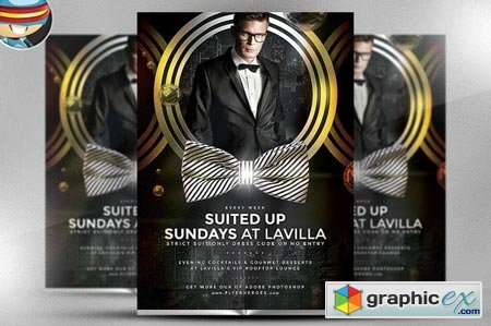 Suited Up Sundays Flyer Template 41228