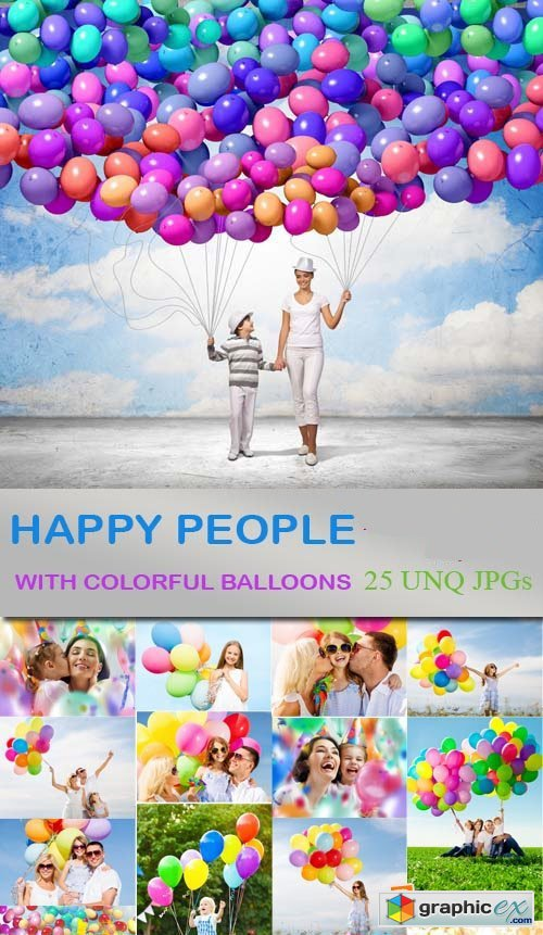 Happy People with Colorful Balloons 25xJPG