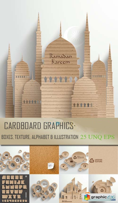 Cardboard Graphics - Boxes, Texture and Alphabet 25xEPS