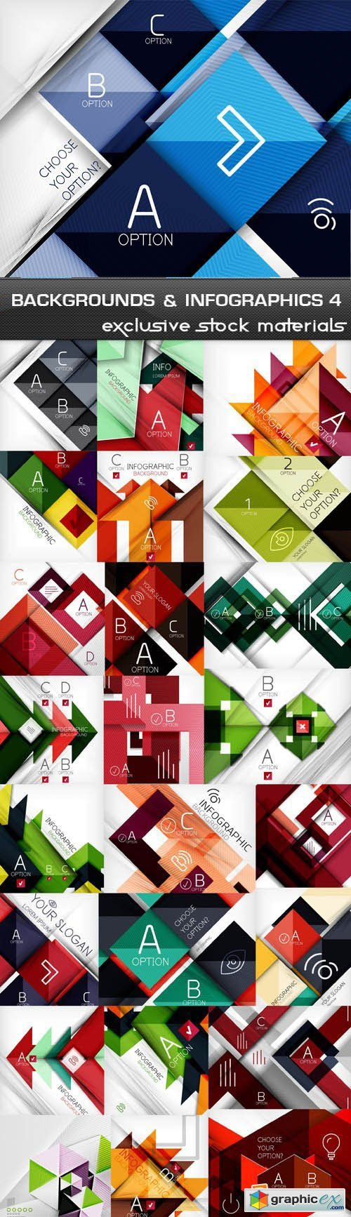 Abstract Backgrounds & Infographics Collection 4, 25xEPS