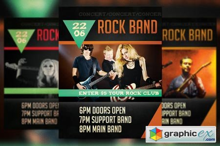 Rock Band Concert Flyer 41485
