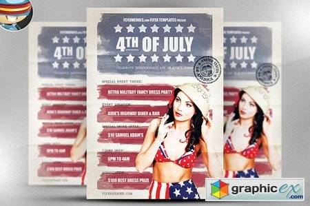 Vintage 4th July Flyer Template 40965