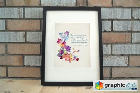 Watercolor Floral Quote Art+Clip Art 41567