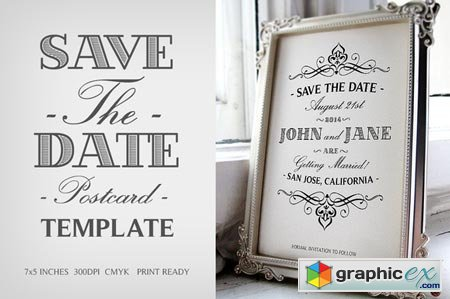 Save The Date Postcard Template V.1 41171