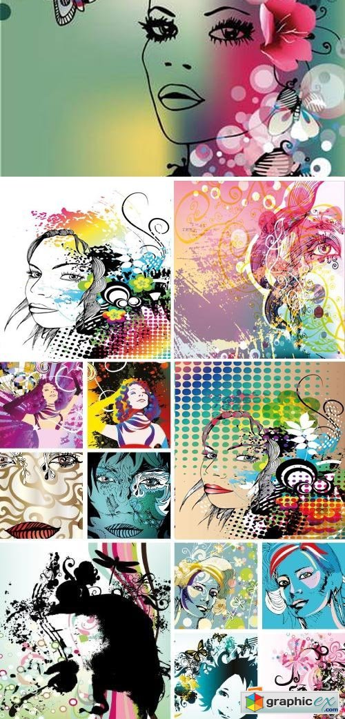 Abstract Woman Faces 50xEPS