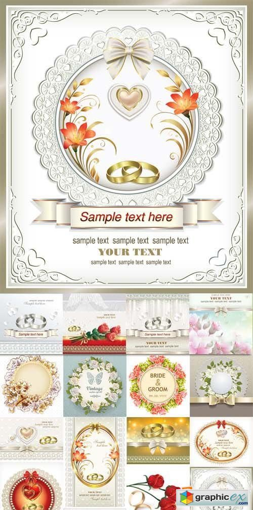 Wedding invitation with flowers, hearts and rings, 25xEPS