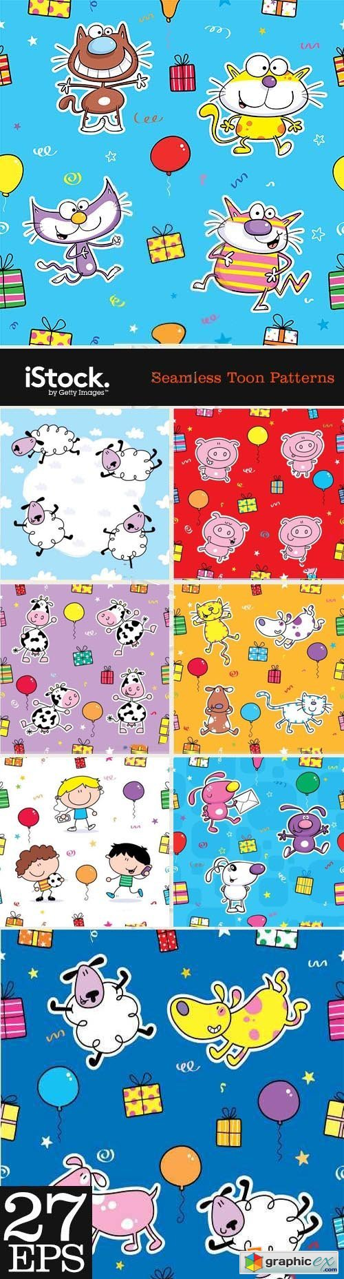 Seamless Toon Patterns 27xEPS