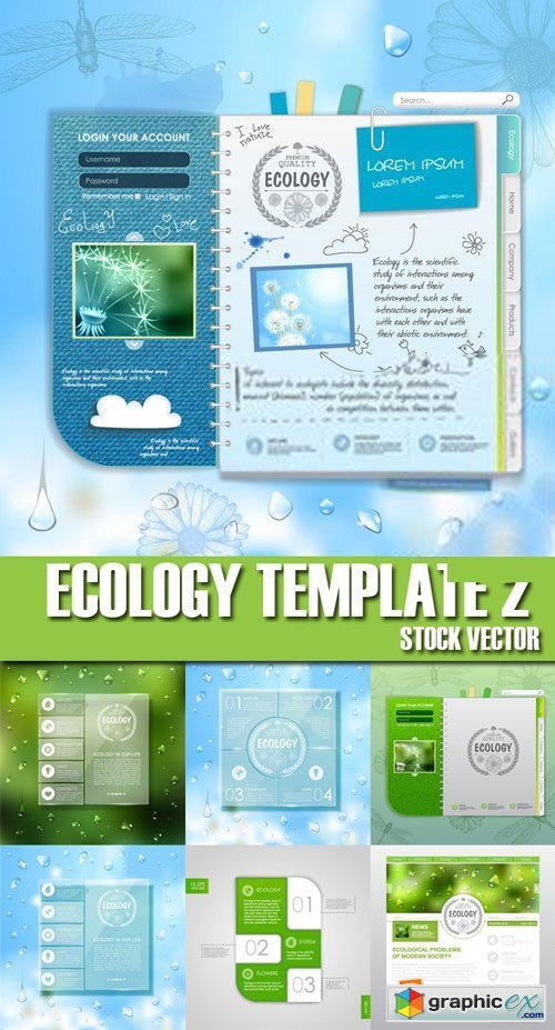 Stock Vectors - Ecology template 2, 25xEPS