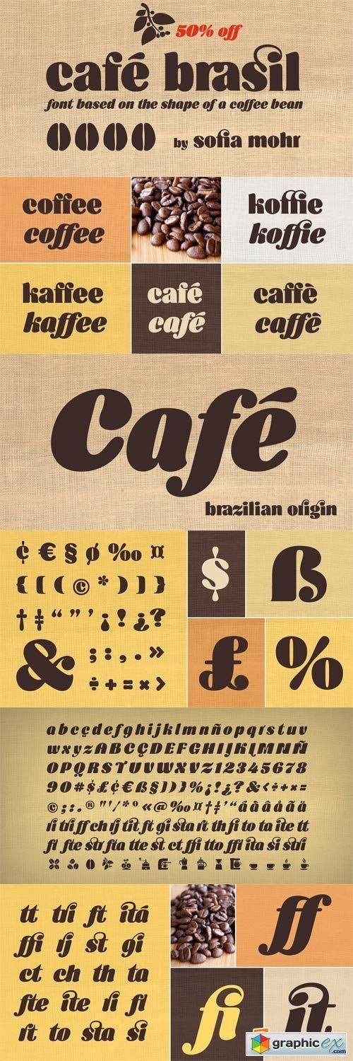 Cafe Brasil Font Family - 2 Fonts for $59