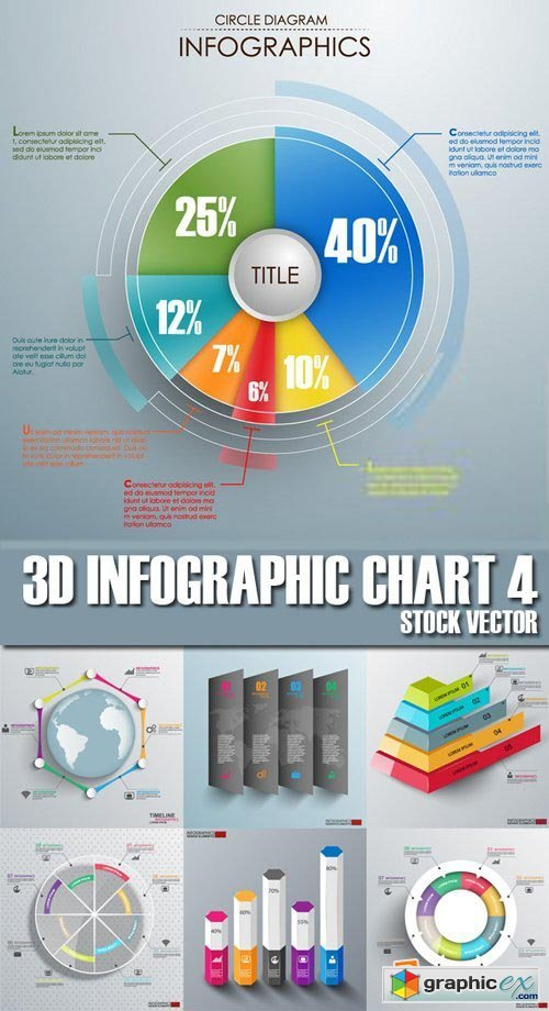 Stock Vectors - 3D Infographic Chart 4, 25xEPS