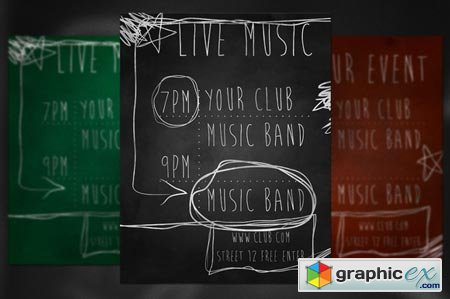 Live Music Chalk Flyer 37975
