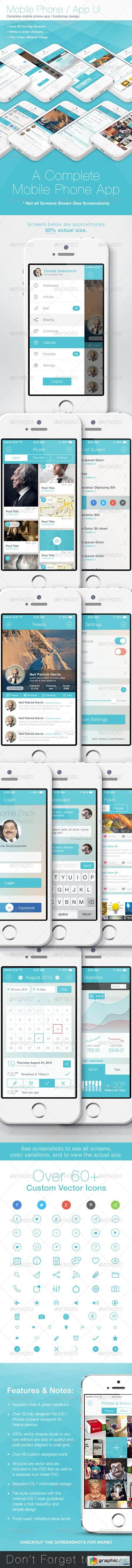 Flat Phone Mobile App Bootstrap UI 5543620