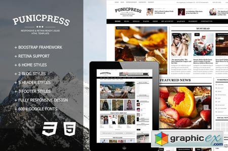 PunicPress - Magazine HTML5 Template 43444