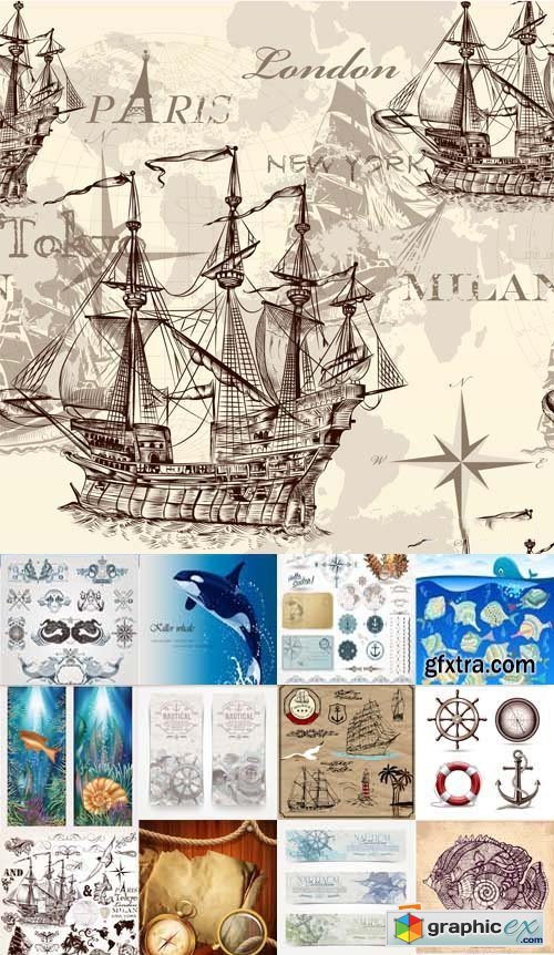 Marine Design Elements, Backgrounds and Banners 25xEPS