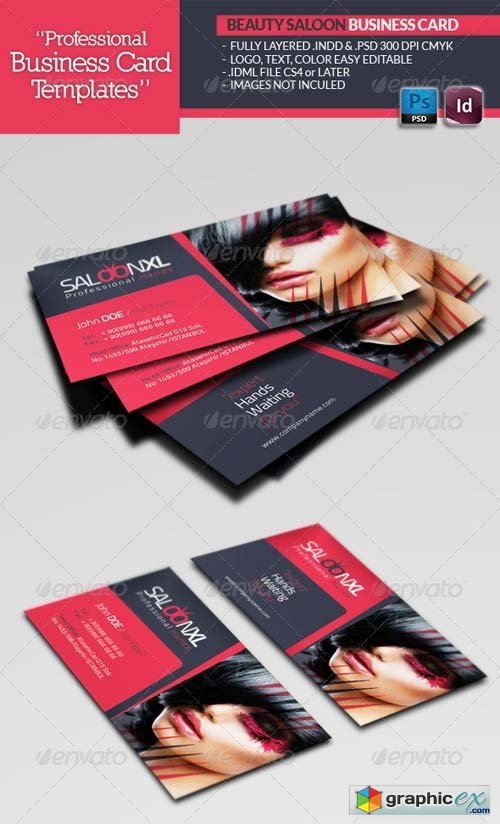 Beauty Salon Business Card Template Free Download Vector Stock - Beauty salon business cards templates free