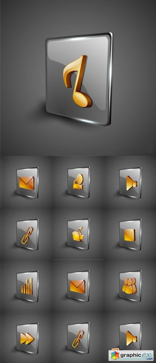 3d Multimedia Icons 25xEPS