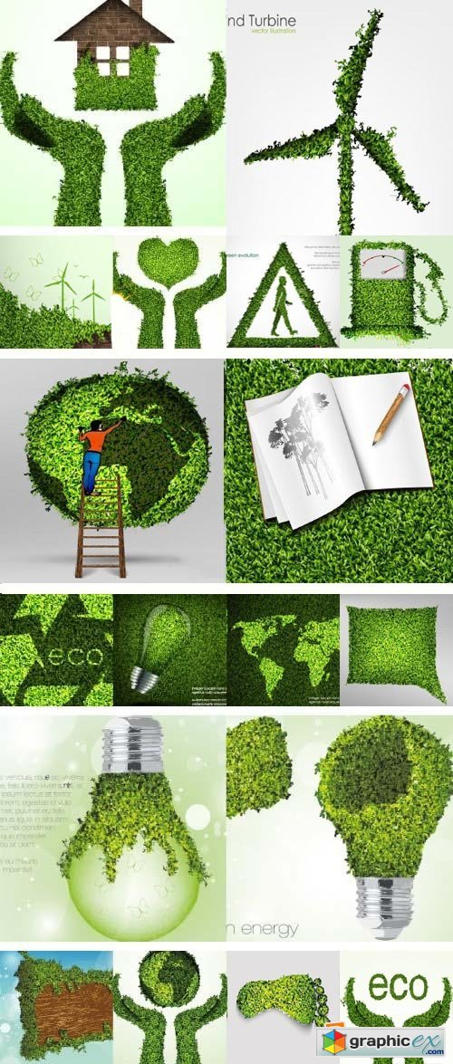 Think Green Conceptual Vectors 25xEPS