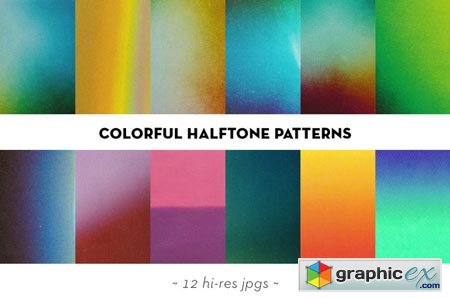 Colorful halftone textures set 30731